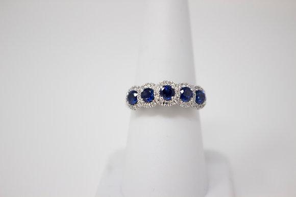 14k White Gold Natural Blue Sapphire & Diamond Ring