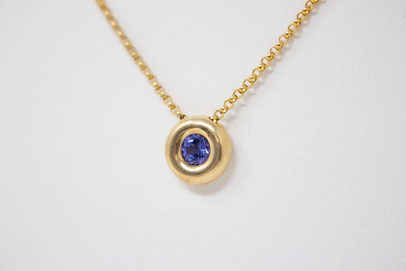 14k Gold Natural Tanzanite Necklace
