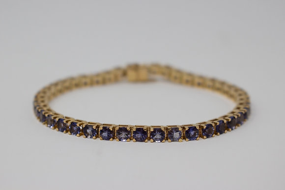 14k Gold Natural Iolite Bracelet