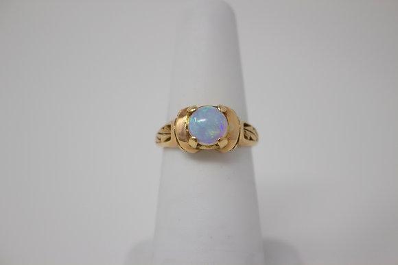 14k Gold Natural Crystal Opal Ring