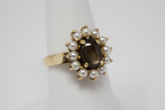 14k Gold Natural Star Sapphire & Pearl Ring