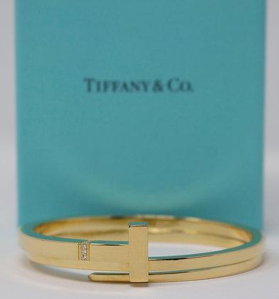 18k Gold Tiffany T Diamond Square Wrap Bracelet