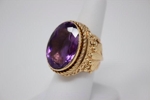 14k Gold Natural Amethyst Ring