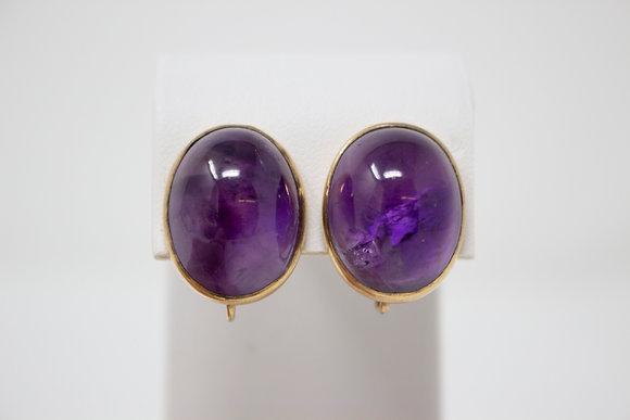 9k Gold Natural Amethyst Quartz Clip On Earrings