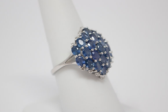 10k White Gold Natural Sapphire Cluster Ring