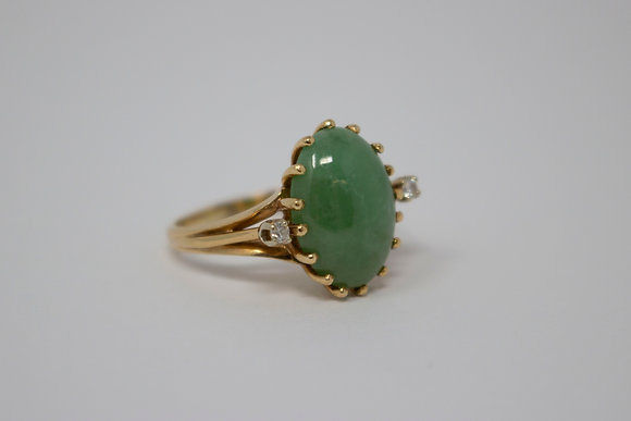 14k Gold Natural Jadeite Jade Ring