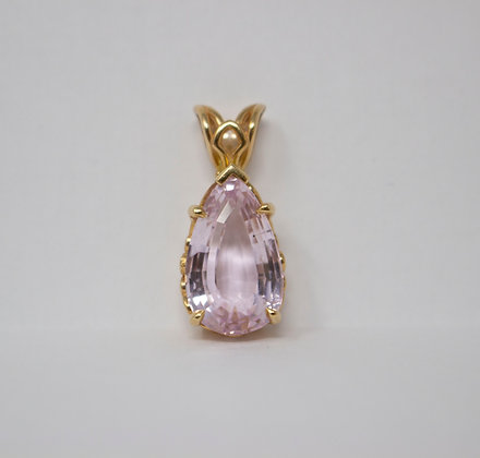 14k Yellow Gold Natural Kunzite Pendant