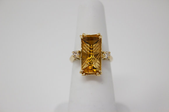 14k Gold Natural Citrine Quartz Ring
