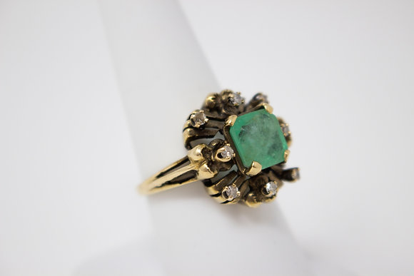 14k Yellow Gold Natural Emerald Beryl & Diamond Ring