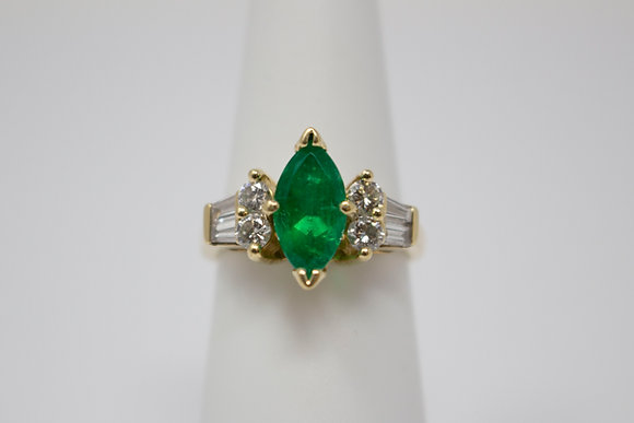 14k Gold Natural Emerald & Diamond Ring