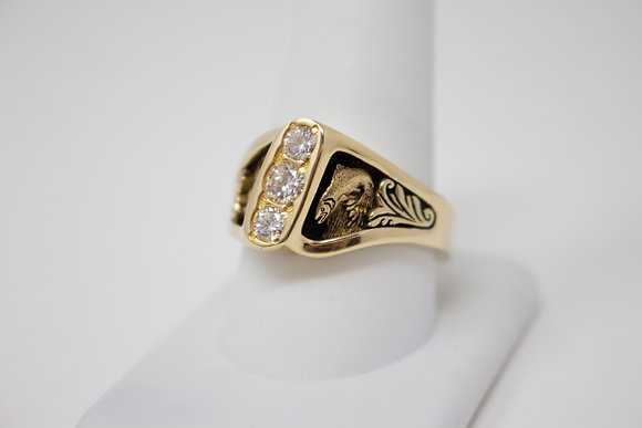 14k Gold Three Diamond Mens Ring with Carved Fish Details