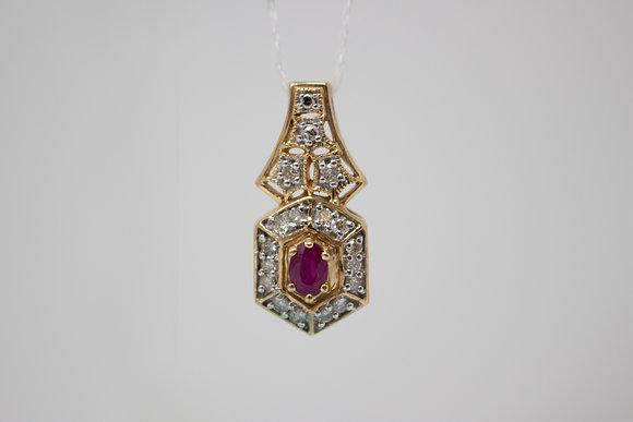 14k Gold Natural Ruby Corundum & Diamond Pendant