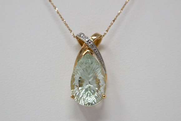 10k Gold Natural Prasiolite Quartz & Diamond Pendant
