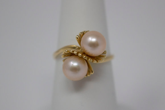 14k Gold Double Cultured Saltwater Pearl Ring
