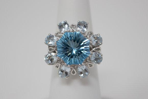 14k White Gold Natural Blue Topaz & Aquamarine Ring