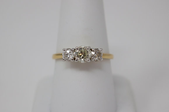 18k Gold Old European Diamond Engagement Ring