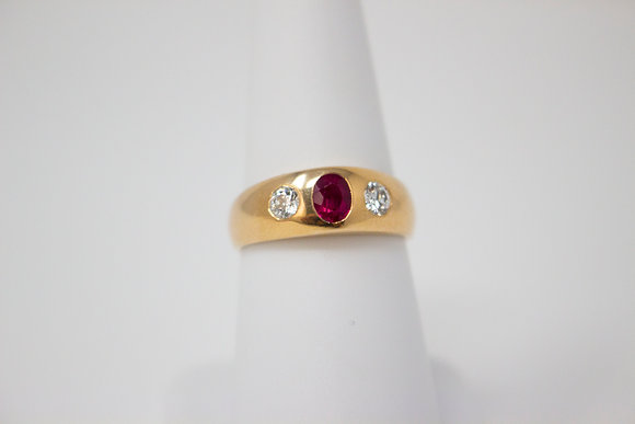 14k Yellow Gold Synthetic Ruby & Diamond Ring