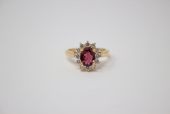 14k Gold Natural Rubellite Tourmaline Ring
