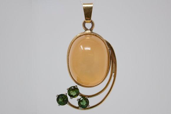 14k Gold Natural Cat's Eye Moonstone & Green Tourmaline Pendant