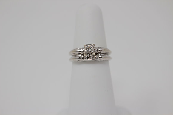 18k White Gold Two Ring Diamond Wedding Set
