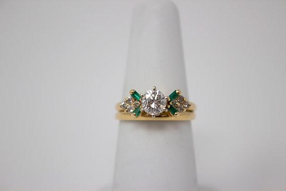 14k Gold Diamond & Synthetic Emerald Wedding Set