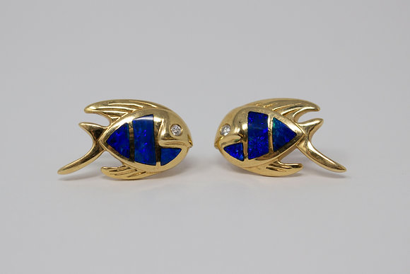 14k Natural Black Opal & Diamond Fish Earrings