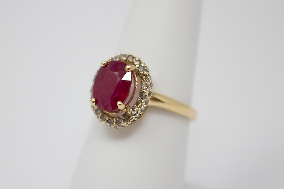14k Gold Composite Ruby & Diamond Ring