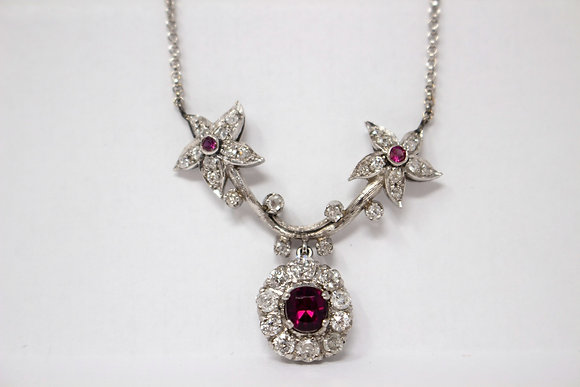 18k White Gold Diamond, Ruby & Red Glass Necklace