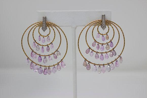 18k Gold & Platinum Natural Pink Sapphire & Diamond Earrings