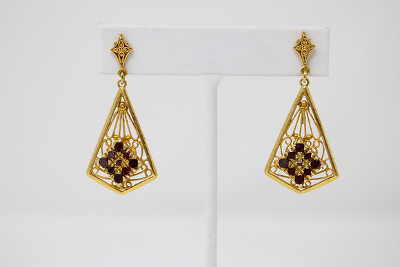 14k Gold Red Glass Dangle Style Earrings