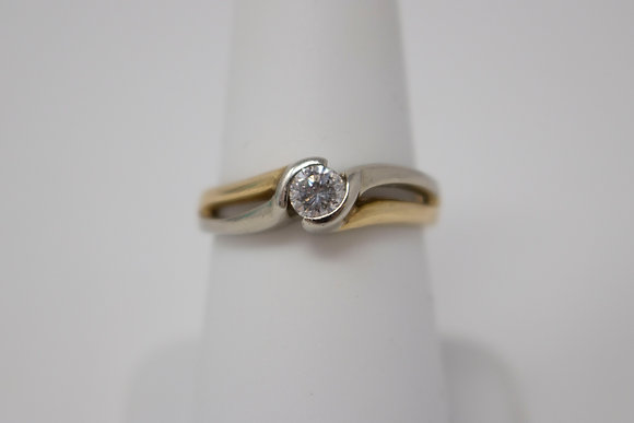 14k White & Yellow Gold Diamond Engagement Ring