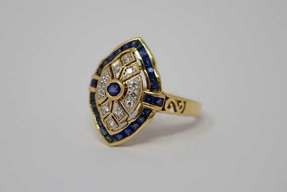 18k Gold Natural Sapphire & Diamond Ring