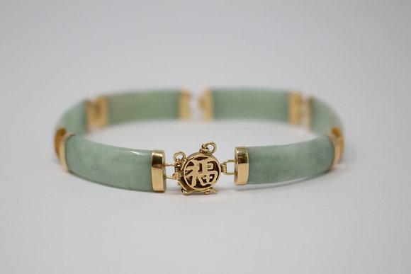 14k Gold Natural Jadeite Jade Bracelet
