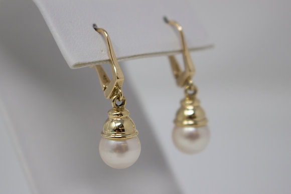 14k Gold Cultured Saltwater Pearl Earrings