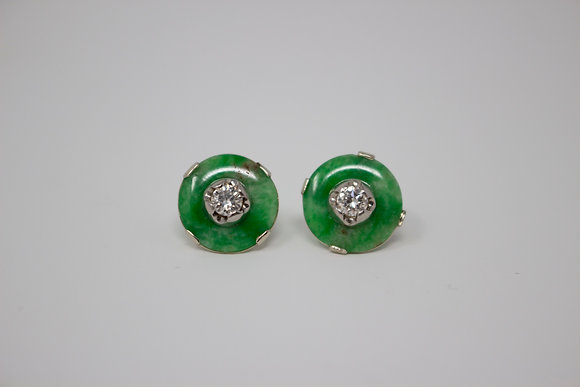 14k White Gold Natural Jadeite Jade & Diamond Earrings