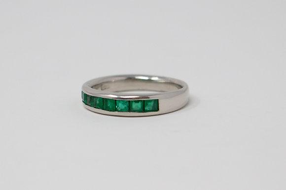 Platinum Band Natural Emerald Ring
