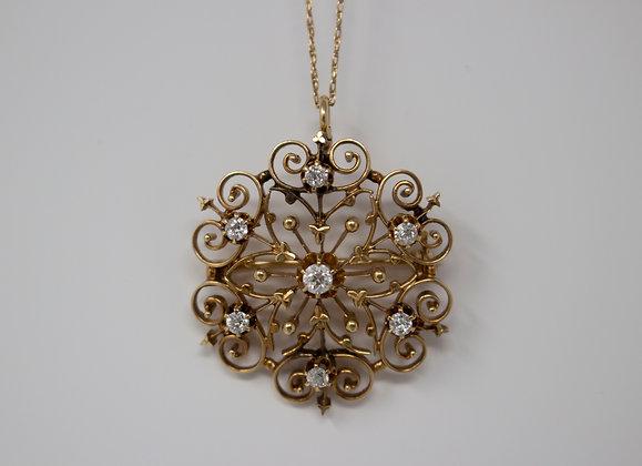 14k Gold Old European Diamond Pendant/Brooch