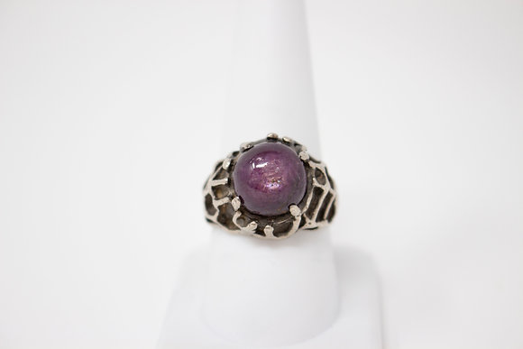 Sterling Silver Natural Star Ruby Ring