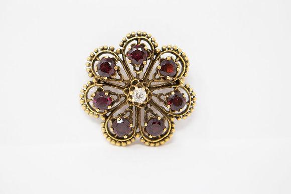 14k Gold Natural Pyrope Garnet & Diamond Pin