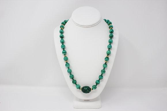 14k Gold Malachite Bead Necklace