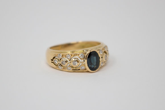 14k Gold Natural Sapphire & Diamond Ring