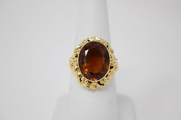 18k Gold Natural Citrine Quartz Ring