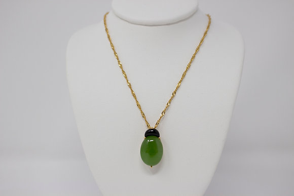 14k Gold Natural Nephrite Jade & Black Onyx Necklace