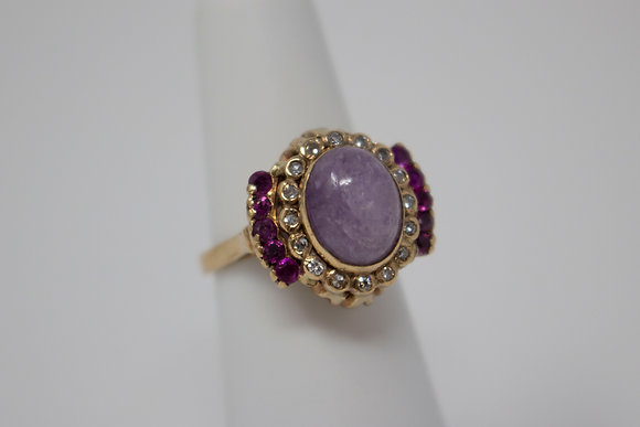 14k Gold Natural Amethyst, Ruby & Diamond Ring