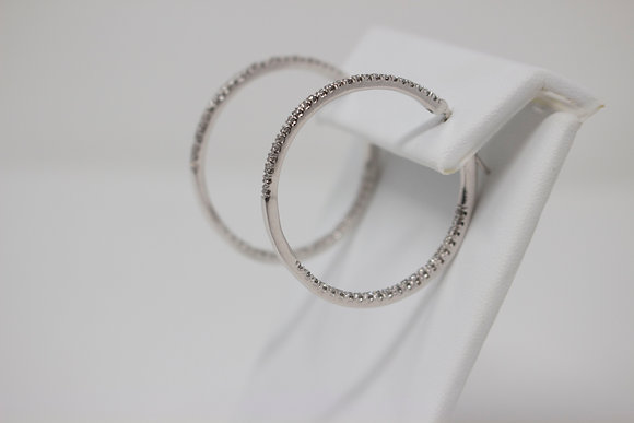 14k White Gold Inside/Out Diamond Hoop Earrings