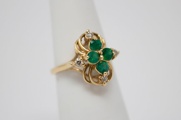 14k Gold Synthetic Emerald & Diamond Ring