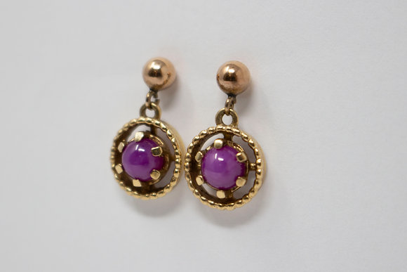 14k Gold Synthetic Star Ruby Earrings