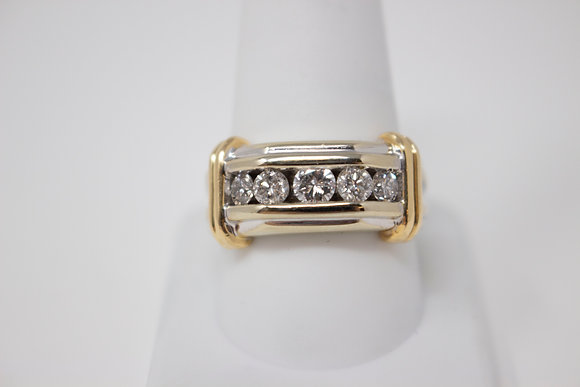 14k White & Yellow Gold Diamond Mens Ring