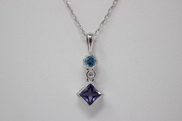 14k White Gold Natural Amethyst, Topaz & Diamond Necklace