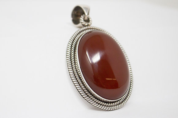 Sterling Silver Natural Carnelian Quartz Pendant